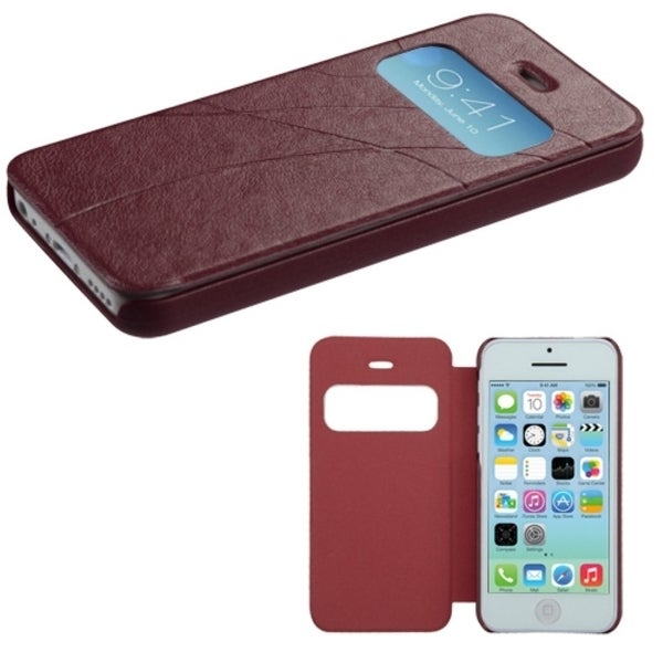 INSTEN Dark Brown Book-Style Phone Case Cover for Apple iPhone 5C