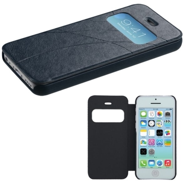 INSTEN Dark Blue Embossed Book-Style Phone Case Cover for Apple iPhone 5C