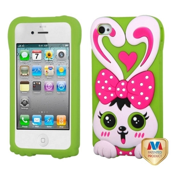 INSTEN Hot Pink/ Grass Green Rabbit Phone Case Cover for Apple iPhone 4/ 4S