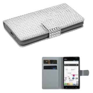 BasAcc Silver Diamonds MyJacket Wallet Case for LG Optimus L9 P769