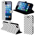 BasAcc White Polka Dots Case with Magnetic Flap for Apple iPhone 5