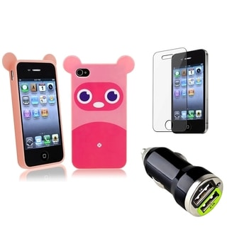BasAcc Raccoon Case/ LCD Protector/ Car Charger for Apple iPhone 4/ 4S