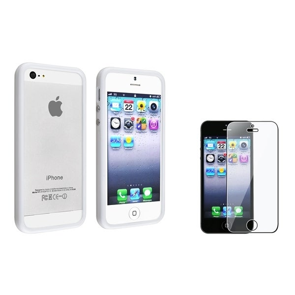 INSTEN White TPU Bumper Phone Case Cover/ Screen Protector for Apple iPhone 5/ 5S