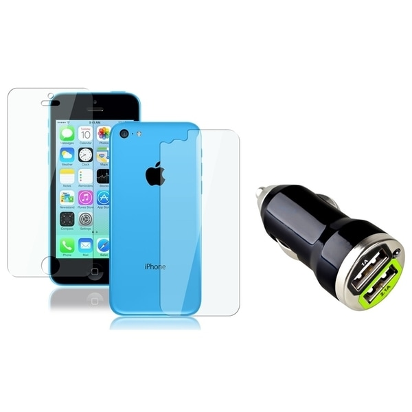 INSTEN Dual LCD Protector/ Car Charger for Apple iPhone 5C