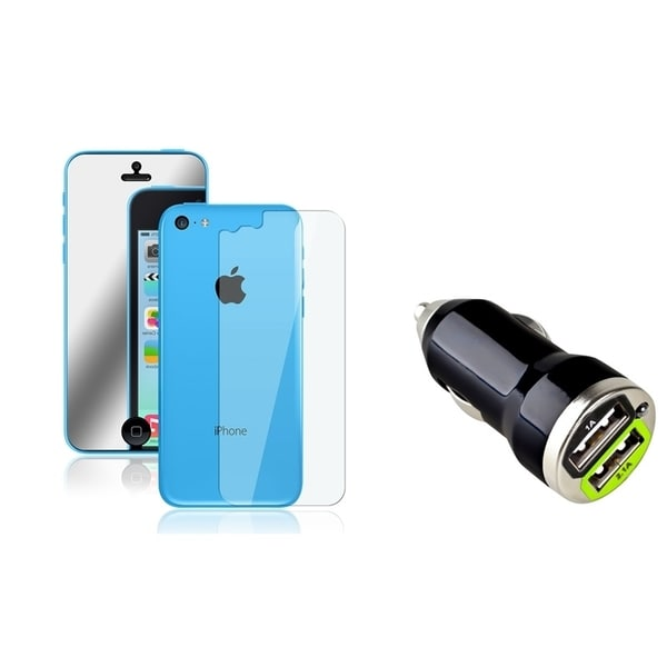 INSTEN Dual Mirror LCD Protector/ Car Charger for Apple iPhone 5C