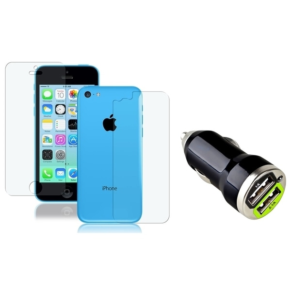INSTEN Dual Anti-glare LCD Protector/ Car Charger for Apple iPhone 5C