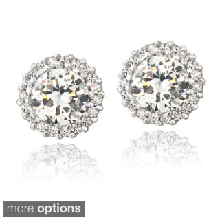 Icz Stonez Silver Or Gold Over Silver Cubic Zirconia Halo Stud Earrings