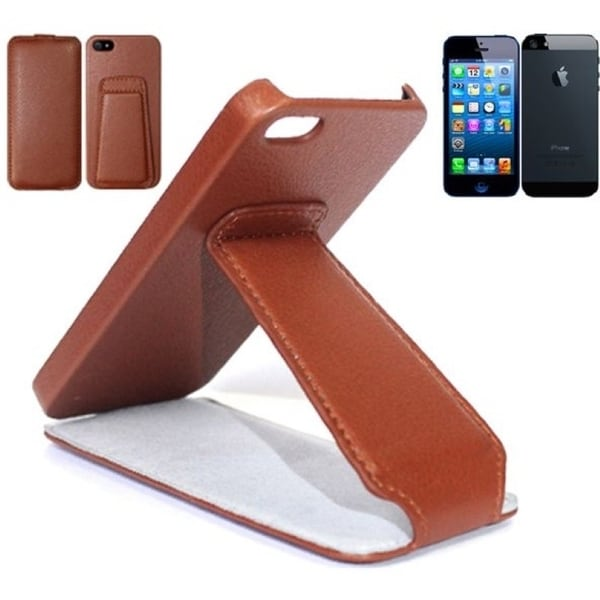 INSTEN Brown Stand Litchi Leather Phone Case Cover for Apple iPhone 5/ 5S