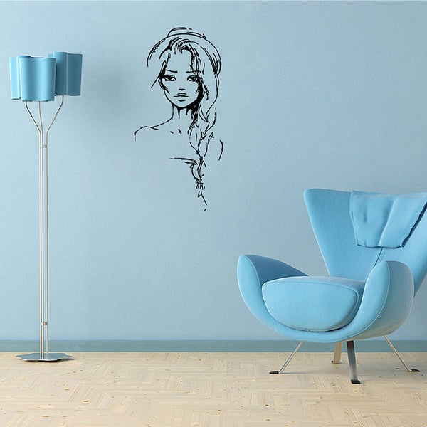 Girl with Beauty Hair Vinyl Wall Decal