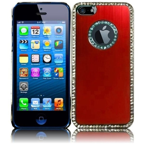 INSTEN Red/ Silver Brushed Aluminum Phone Case Cover with Diamond for Apple iPhone 5/ 5S