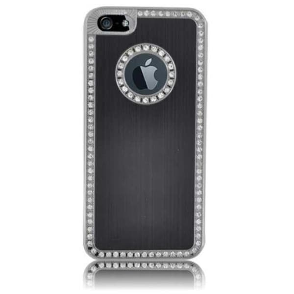 INSTEN Black/ Silver Brushed Aluminum Phone Case Cover with Diamond for Apple iPhone 5/ 5S