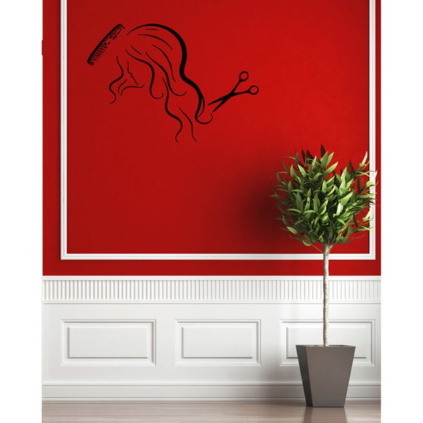 Girl with Scissors & Combs Vinyl Wall Decal