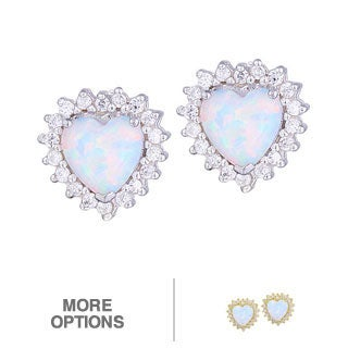 Glitzy Rocks Silver Created Opal and Cubic Zirconia Heart Earrings