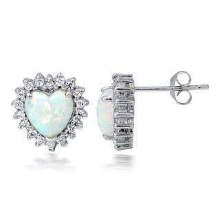 Glitzy Rocks Silver Created Opal and Cubic Zirconia Heart Earrings