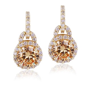 Icz Stonez Gold Over Silver Champagne Cubic Zirconia Circle Earrings