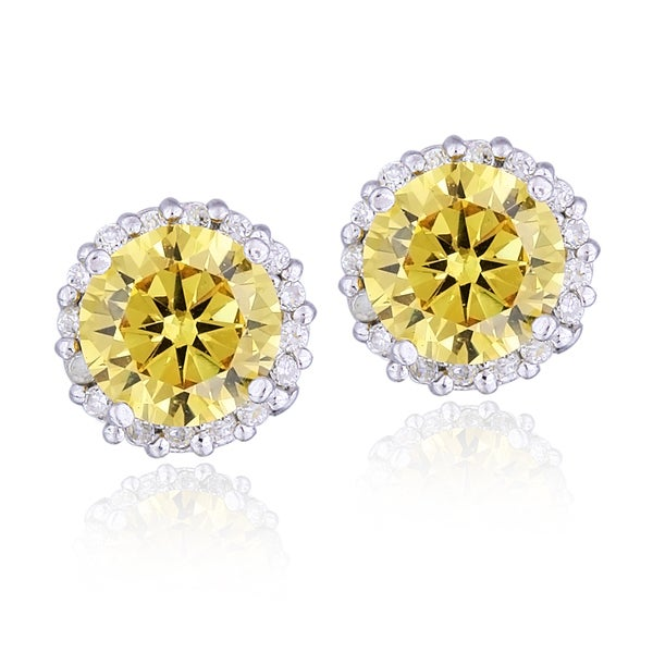 Icz Stonez Sterling Silver Yellow Cubic Zirconia Round Halo Stud Earrings