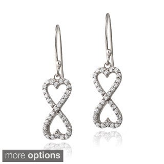 Icz Stonez Silver Or Gold Overlay Cubic Zirconia Infinity Heart Earrings