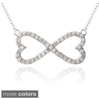 Glitzy Rocks Silver or Gold Over Silver Cubic Zirconia Infinity Heart Necklace