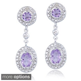 Glitzy Rocks Gemstone And Diamond Accent Dangle Earrings (I-J, I2-I3)