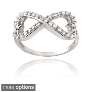 Icz Stonez Silver or Gold Over Silver Infinity Heart Ring