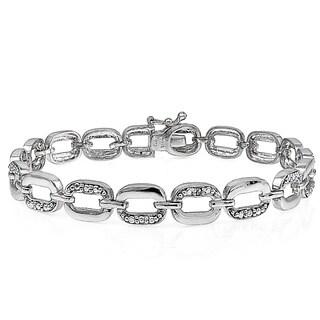 DB Designs 18k Gold Overlay Diamond Accent Oval Bracelet (I-J, I2-I3)