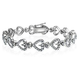 DB Design 18k Gold Overlay Diamond Accent Heart Bracelet (I-J, I2-I3)