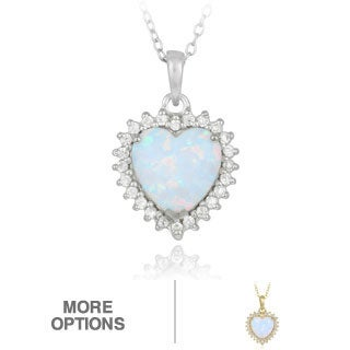 Glitzy Rocks Silver or Gold Over Silver Created Opal Heart and Cubic Zirconia Necklace