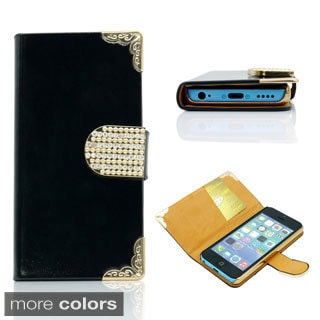Gearonics Rhinestones Wallet PU Leather Flip Cover Case for iPhone 5C