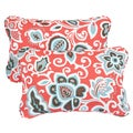 Floral Coral Corded 13 x 20 inch Indoor/ Outdoor Throw Pillows (Set of 2)