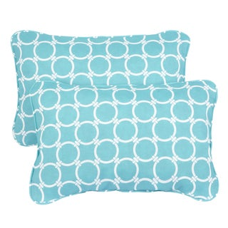 Linked Aqua Corded 13 x 20 inch Indoor/ Outdoor Throw Pillows (Set of 2)