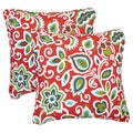 Floral Red Corded Indoor/ Outdoor Square Pillows (Set of 2)