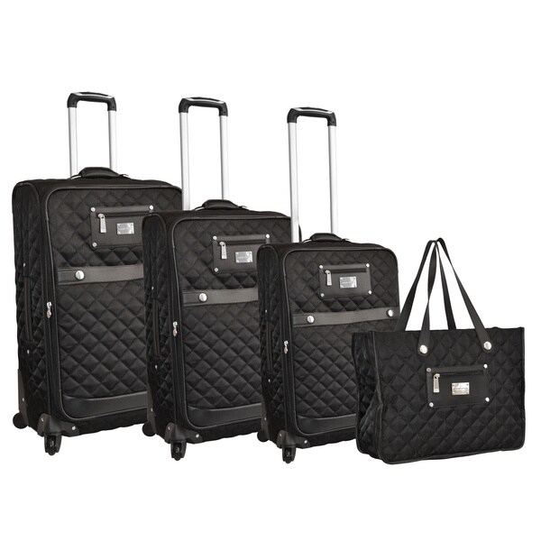 Adrienne Vittadini 4-piece Black Quilted Spinner Luggage Set