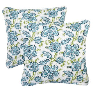 Aqua Floral Corded Indoor/ Outdoor Square Pillows (Set of 2)