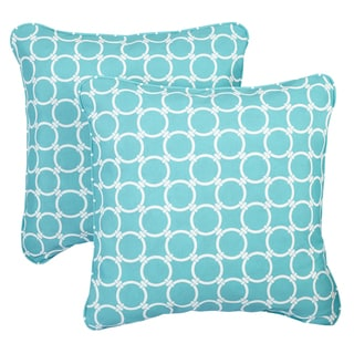 Linked Aqua Corded Indoor/ Outdoor Square Pillows (Set of 2)