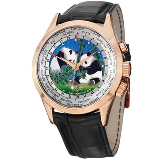 Vulcain Men's 'Aviator' The Pandas Dial Rose Gold Black Strap Watch