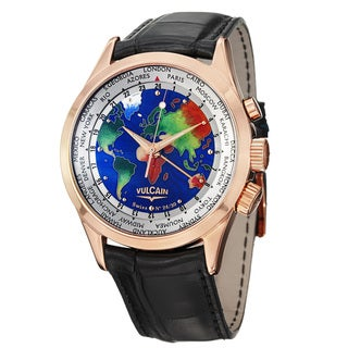 Vulcain Men's 'Aviator' The World Dial Rose Gold Black Strap Watch