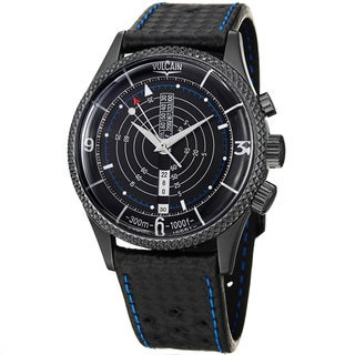 Vulcain Men's 'Nautical Heritage' Black Dial Leather Strap Watch