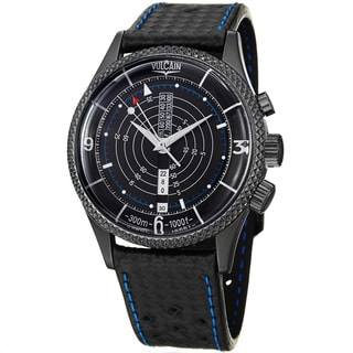Vulcain Men's 100152.024L 'Nautical Heritage' Black Dial Leather Strap Watch