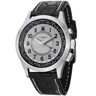 Vulcain Men's 100108.335C 'Aviator' Grey GMT Dial Black Leather Strap Watch
