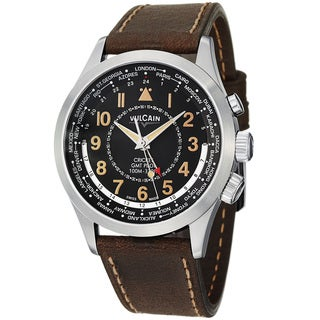 Vulcain Men's 'Aviator' Black GMT Dial Brown Leather Strap Watch