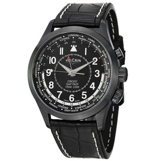 Vulcain Men's 100108.332L 'Aviator' Black GMT Dial Leather Strap Watch