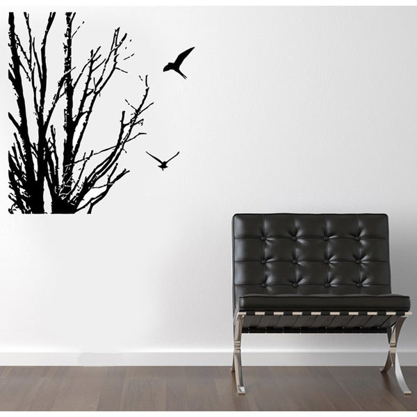 Birds Near Winter Branches Vinyl Wall Decal