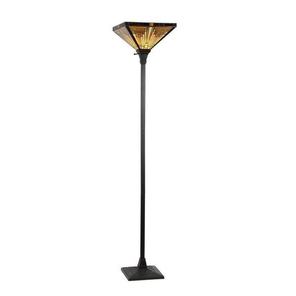 tiffany style mission design 2 light dark antique bronze floor lamp. Black Bedroom Furniture Sets. Home Design Ideas