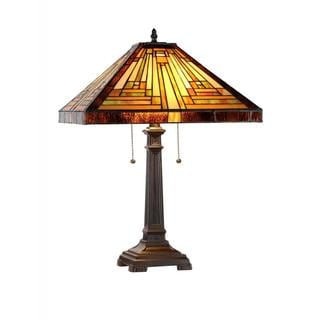 Chloe Tiffany Style Mission Design 2-light Dark Antique Bronze Table Lamp