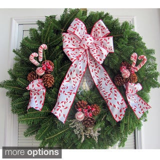 Fresh Balsam Maine 24-inch Candy Cane Ribbon Wreath