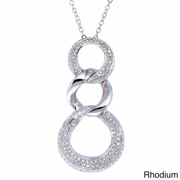 Triple Hoop Crystal Shine Pendant Necklace
