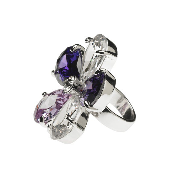 Purple Flower Cubic Zirconia Statement Ring