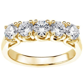 Yellow Gold 1.65ct Brilliant Cut Five Stone Diamond Wedding Band (F-G, SI1-SI2)
