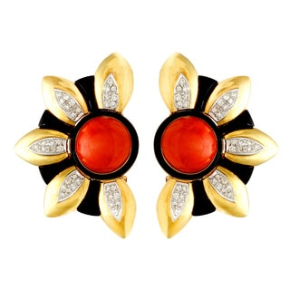 18k Yellow Gold Coral, Onyx and 1ct TDW Giant Sunflower Earrings (H-I, SI1-SI2)