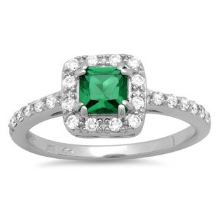 Sterling Essentials Silver Gypsy Green Princess Cut and Pave CZ Ring